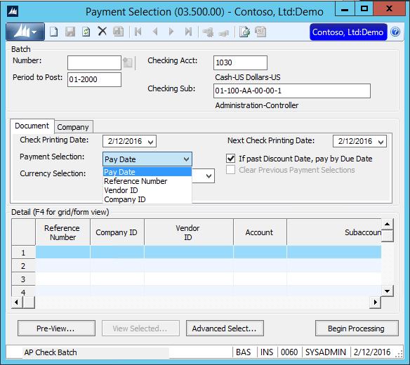 Dynamics SL - AP Payment