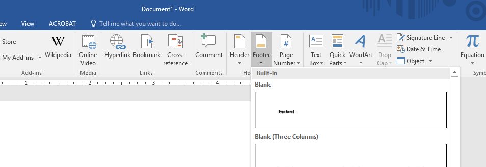 Insert Footer in Microsoft Word
