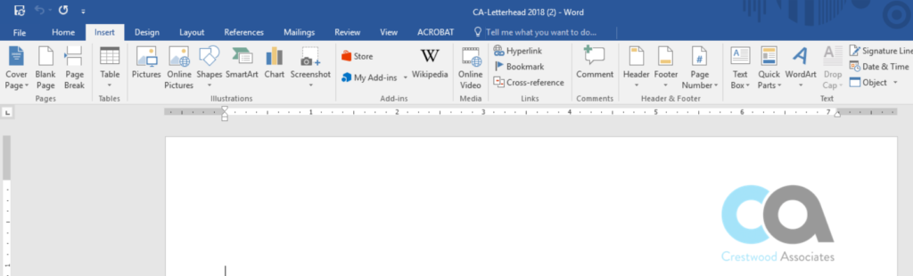 Insert Header in Microsoft Word