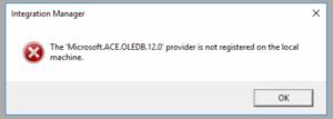 Integration Manager log error message