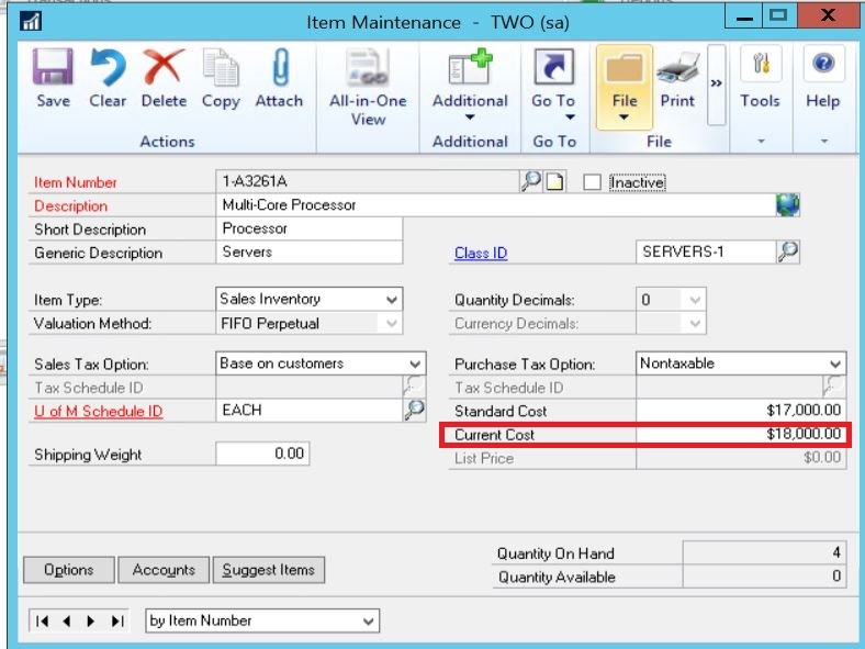Inventory Item in Dynamics GP