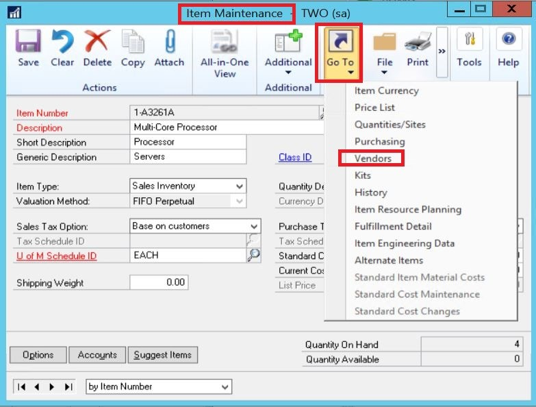 Item Maintenance window Dynamics GP