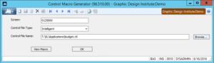 Control Macro Generator Screen for Dynamics SL