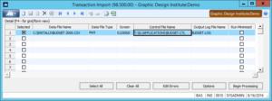 Transaction Import Window for Dynamics SL
