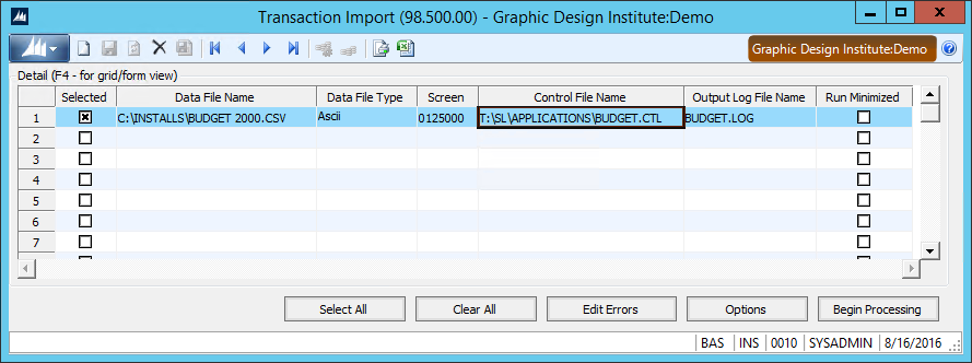 Transaction Import Window for Dynamics SL