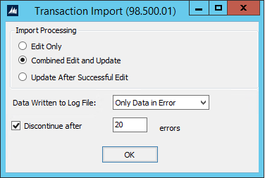 Transaction Import Options Window for Dynamics SL