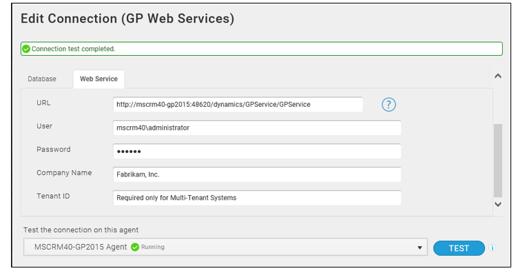 Edit connection on Scribe for Dynamics GP - GP web services tab