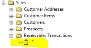Smartlist of Receivable Transactions