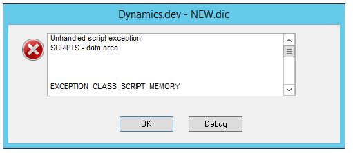 Error Message in Dexterity IDE