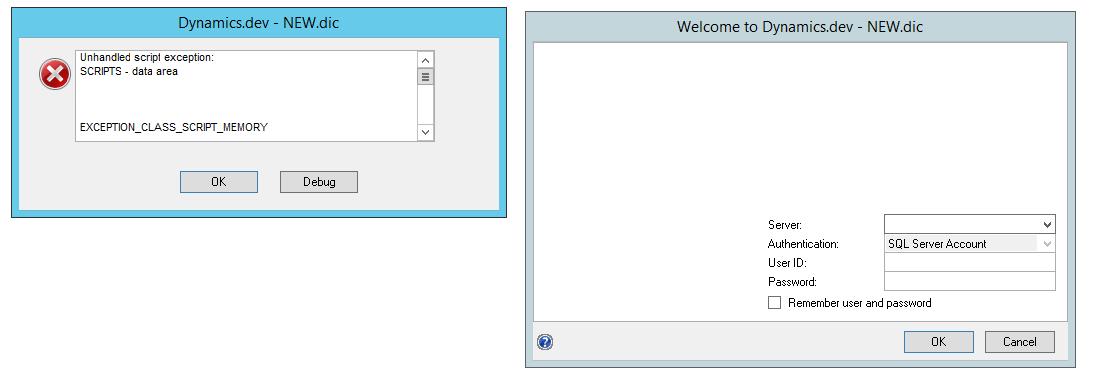 Error Message in Dexterity IDE - System Login