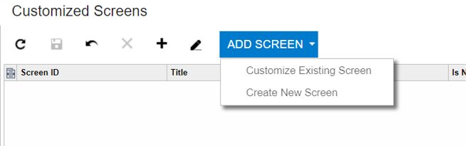 Add screen in Acumatica