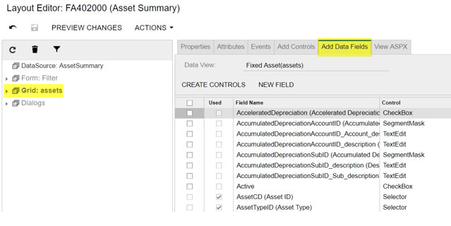 Add data fields Customized screens in Acumatica