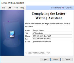 Dynamics GP Letter Writing Assistant
