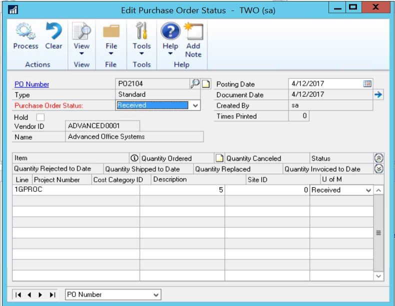 Purchase order entry window Dynamics GP