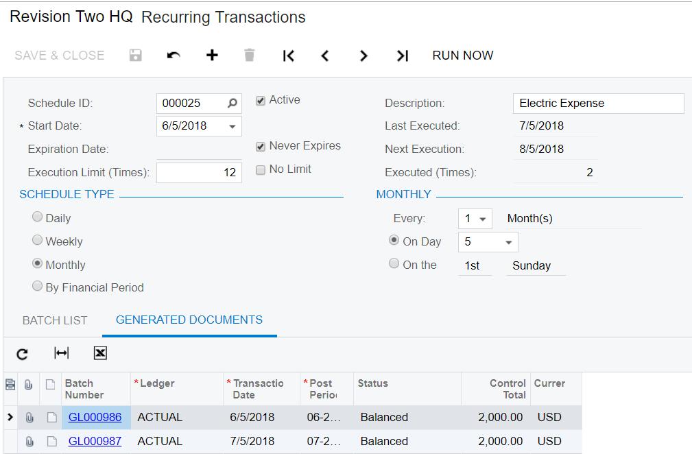 Recurring Transaction Window in Acumatica