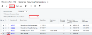 Recurring Transaction Window in Acumatica