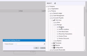 site map for customization project adding data field in Acumatica