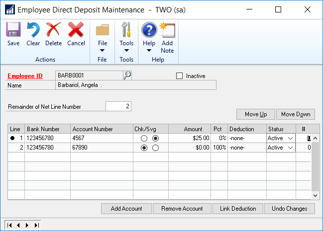splitting direct deposits in dynamics gp