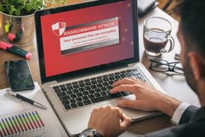 Ransomware alert on a laptop screen