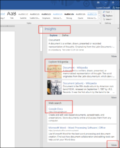 Smart Lookup feature in Microsoft Office 365