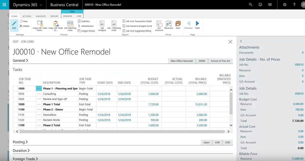 Dynamics 365 Business Central - Job and Project Accounting