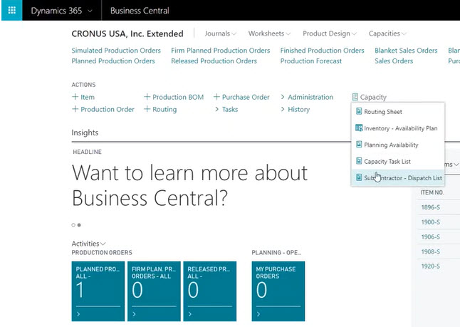 Manufacturing in Microsoft Dynamics 365 Business Central