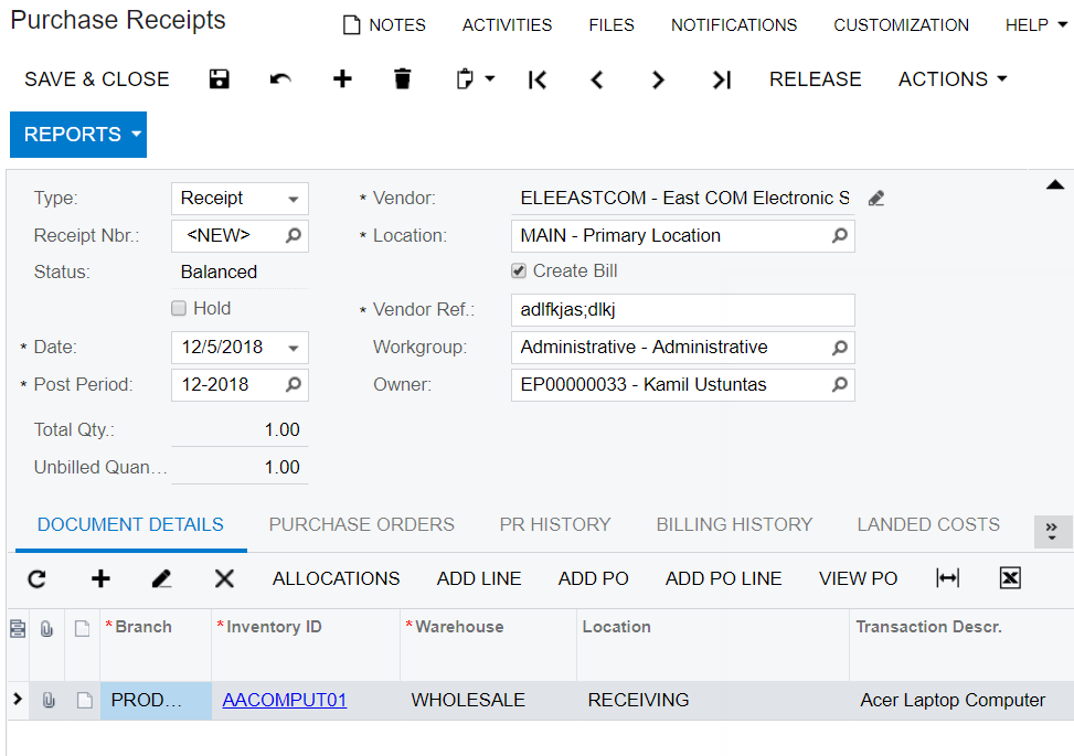 Tracking Purchases in Acumatica