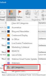 Crestwood Productivity Tip Outlook Categories