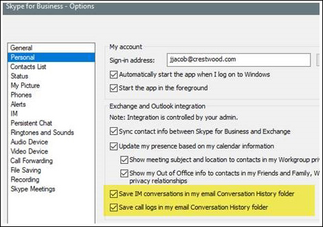 Skype for Business Tracking Conversations and Call Durations