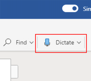 Dictation in Office 365 Word