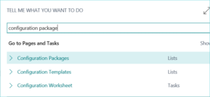 Configuration Package GL Entries in Dynamics 365