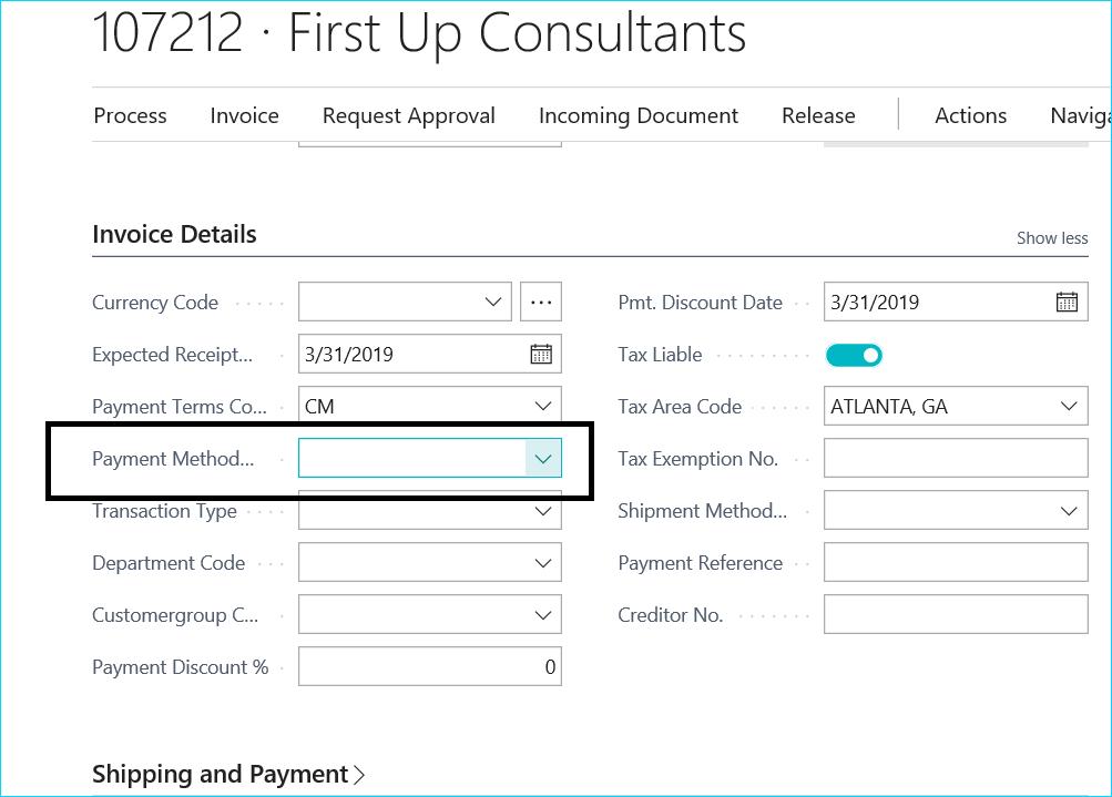 Dynamics 365 Cash Payment