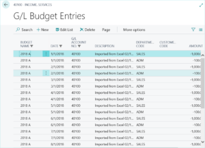 Upload Budget with Dimension Detail in Dynamics 365