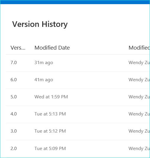 Microsoft OneDrive Verions