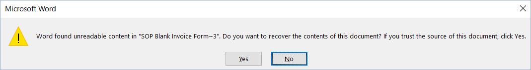 Dynamics GP Microsoft Word Error