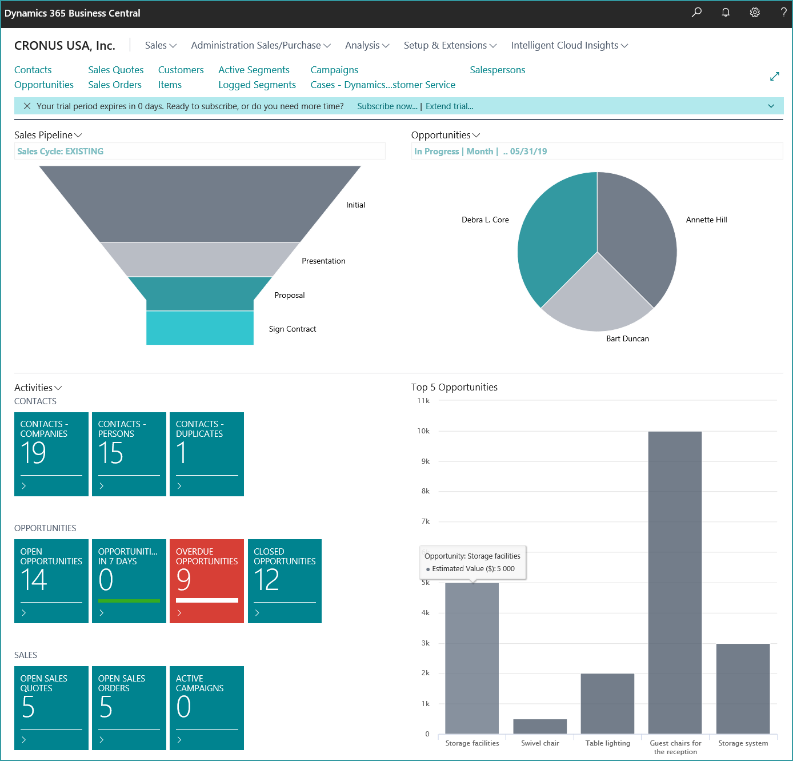 CRM Functionality in D365 Business Central