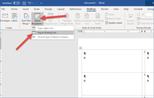 Office 365 - Mail Merge with Word