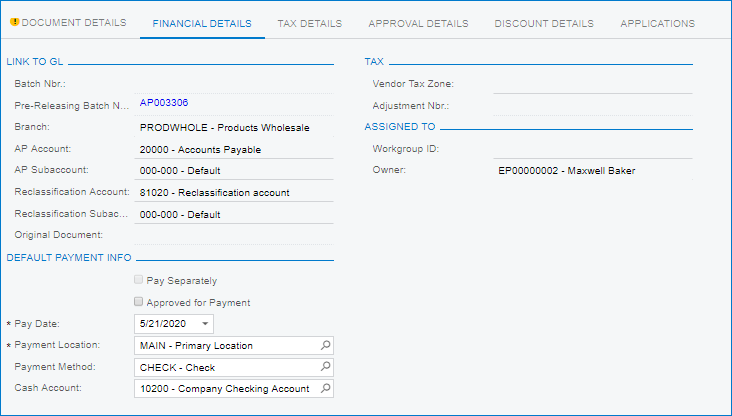 AP Bills and Adjustments in Acumatica