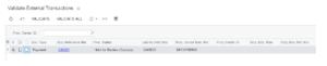 Validate External Transactions Screen Shot