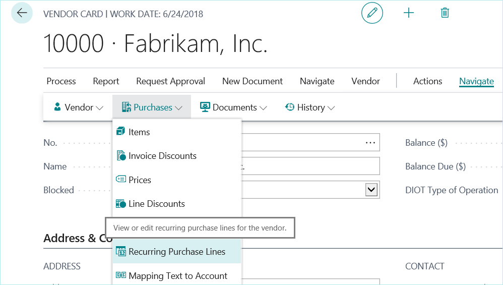 Dynamics 365 Default Vendor