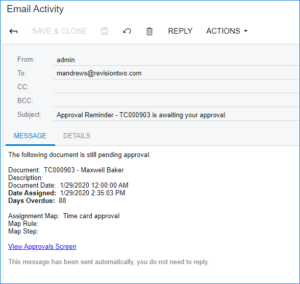Approval Reminder in Acumatica