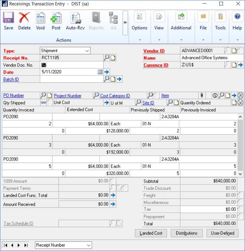 Entering Blanket Purchase Orders In Dynamics GP