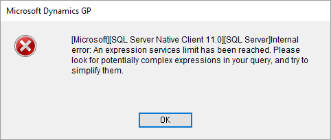 GP and SQL Error