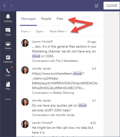 Searches in Microsoft Teams