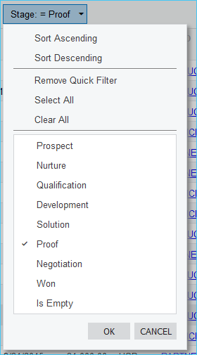 Shift F to Filter in Acumatica
