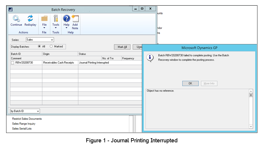 Dynamics GP Error - Journal Printing