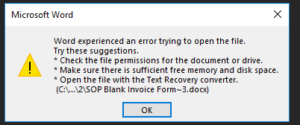 GP Printing Error Message