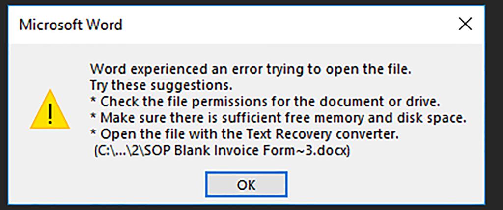 GP Printing Error Message