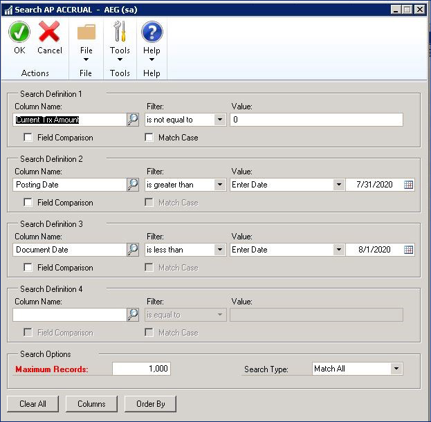 AP Accrual SmartList in Dynamics GP