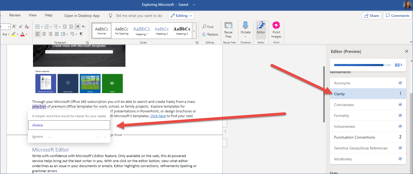 Microsoft 365 Editor Productivty Tip